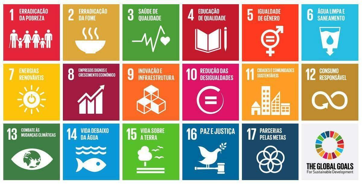 Os 17 Objetivos de Desenvolvimento Sustentável da Agenda 2030.
