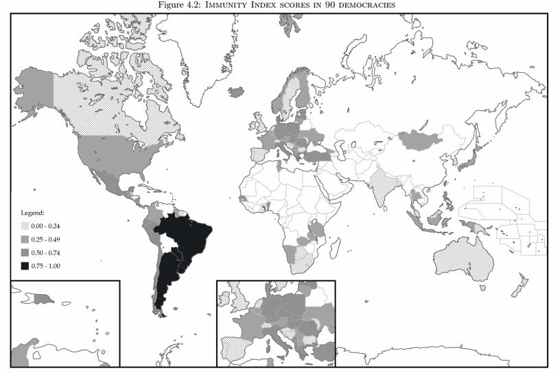 mapa imunidades parlamentares mundo