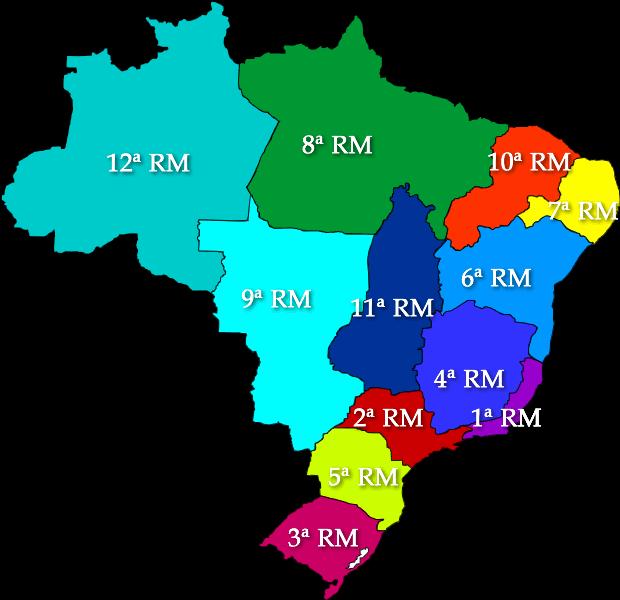 Regioes Militares mapa