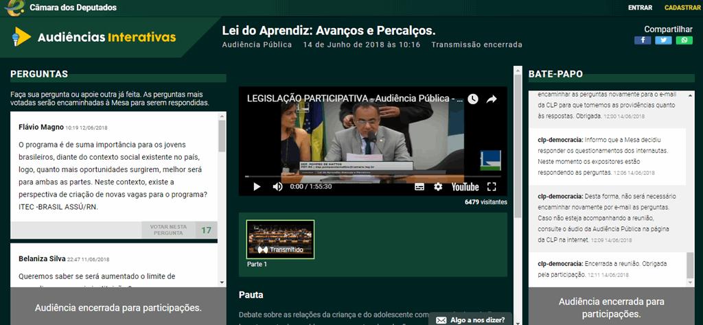 Página de uma Audiência Interativa sobre a Lei do Aprendiz. e-democracia. Politize!