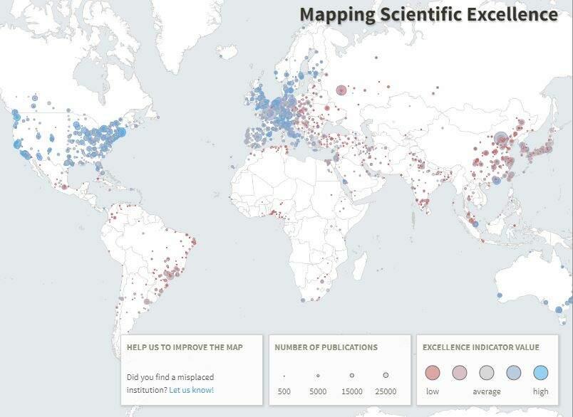 Mapa de pesquisas científicas no mundo (Excellence Mapping)