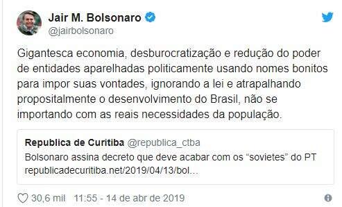 Comentário do presidente Jair Bolsonaro sobre o Decreto n° 9759, realizado pela plataforma Twitter