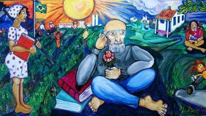 pintura representando Paulo Freire