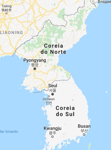 Mapa da península coreana. Ao norte, a Coreia do Norte, ao sul a Coreia do Sul. A linha divisória entre elas é o chamado paralelo 38º. Ao norte da Coreia do Norte se encontra a China. (Imagem: Google Maps)
