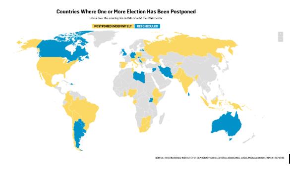 Mapa de eleições da Foreign Policy. Em azul os países que remarcaram eleições e em https://foreignpolicy.com/2020/05/22/coronavirus-elections-postponed-rescheduled-covid-vote/amarelo os que as adiaram, ainda sem uma definição. Veja o mapa intrativo em https://foreignpolicy.com/2020/05/22/coronavirus-elections-postponed-rescheduled-covid-vote/
