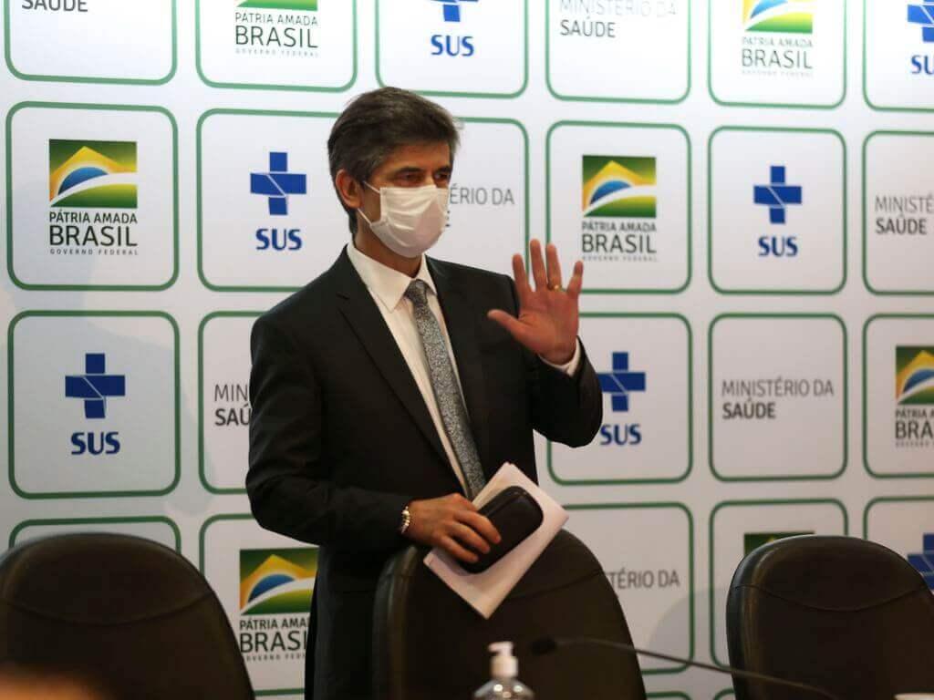 O médico Nelson Teich, fez um pronunciamento de despedida, no qual fez um balanço da sua curta atuação à frente da pasta. Foto de 15/05/2020 (Marcello Casal Jr/Agência Brasil)