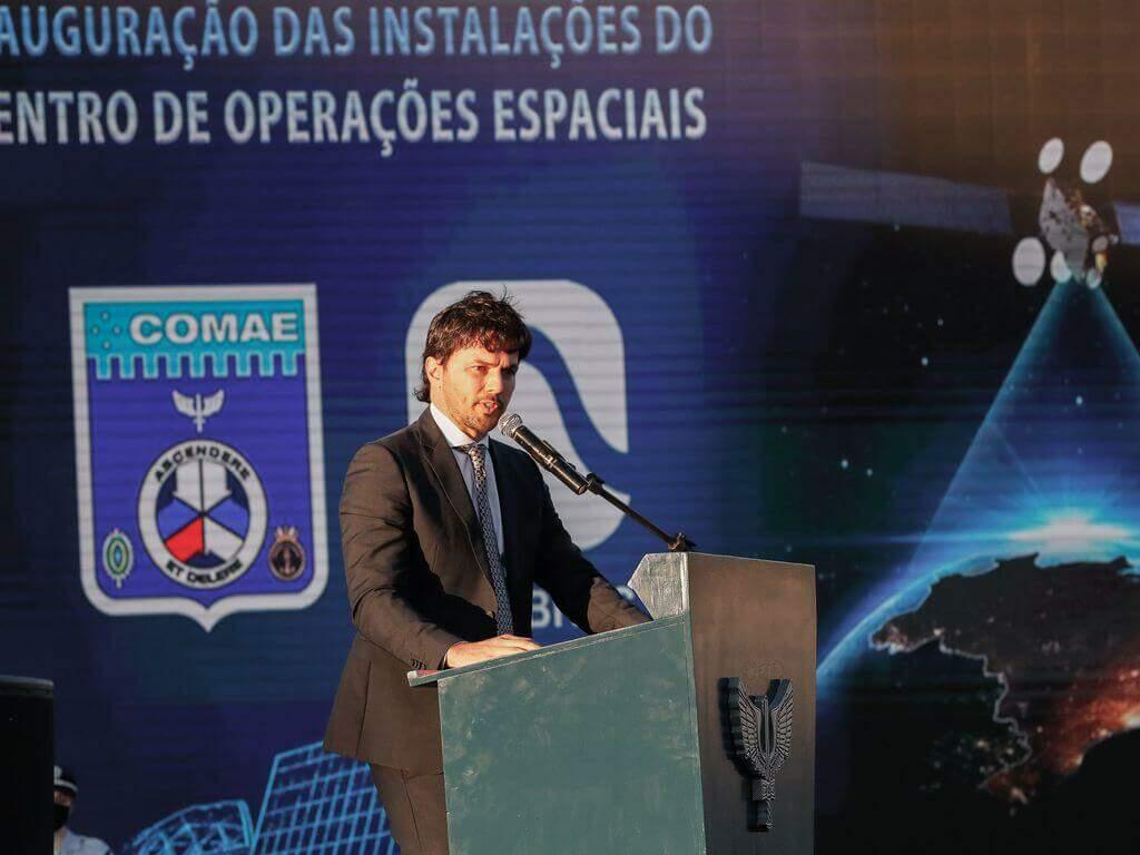 O ministro das Comunicações, Fábio Fária, durante a cerimônia de Inauguração do Centro de Operações Espaciais Principal (COPE-P) ( Foto: Alan Santos/PR)