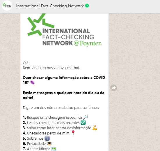 Print do chatbot de COVID-19 do IFCN