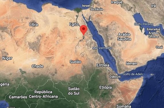 Localização no mapa dos três países citados (Etiópia, Sudão e Egito). Em vermelho no mapa a localização do Rio Nilo no Egito. (Via: Google Maps)